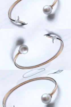 The classic uSfuur bangle cuff with fresh water pearls