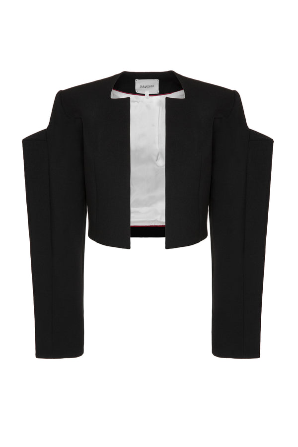 CROPPED BLAZER WITH ASYMMETRIC PUFF SLEEVES