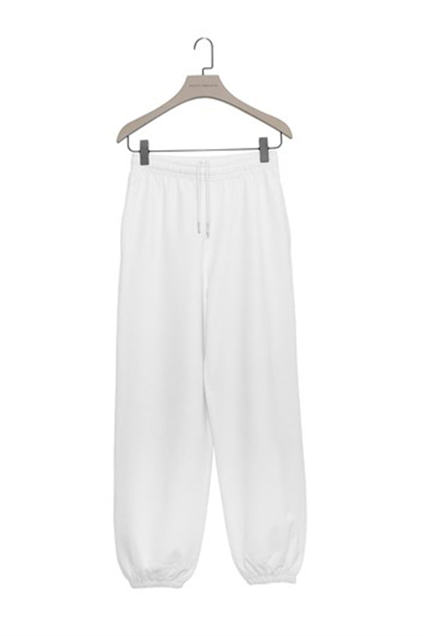 White  Baggy Sweatpants with Elastic Cuffs