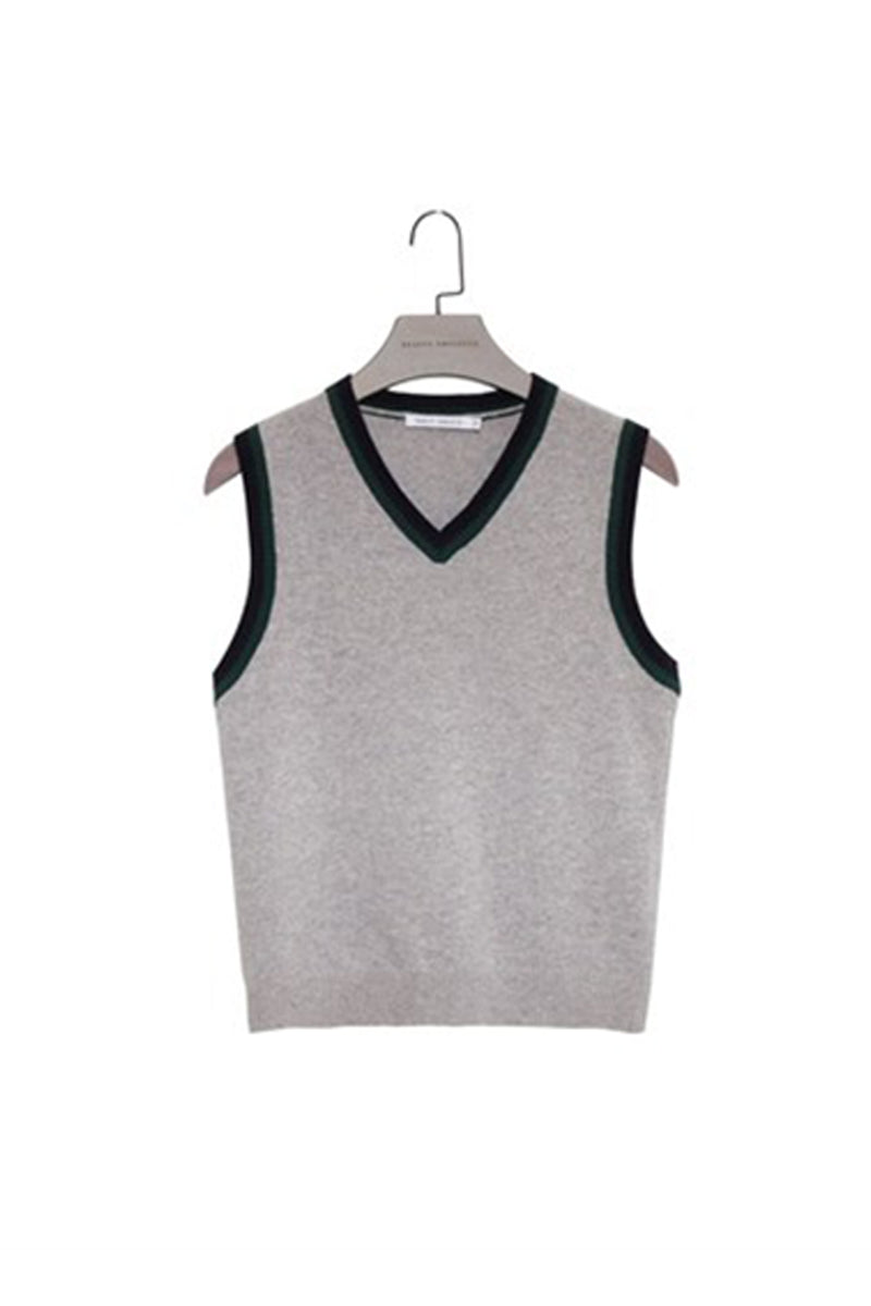 Grey Sleeveless Knit Vest