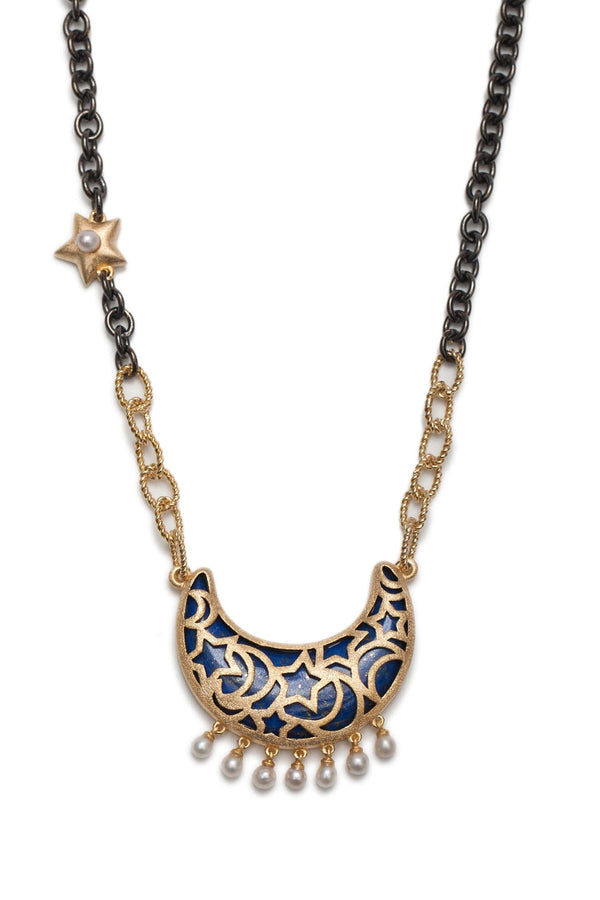 Lapis Lazuli Moon With Freshwater Pearls Charms Necklace - Maison Orient