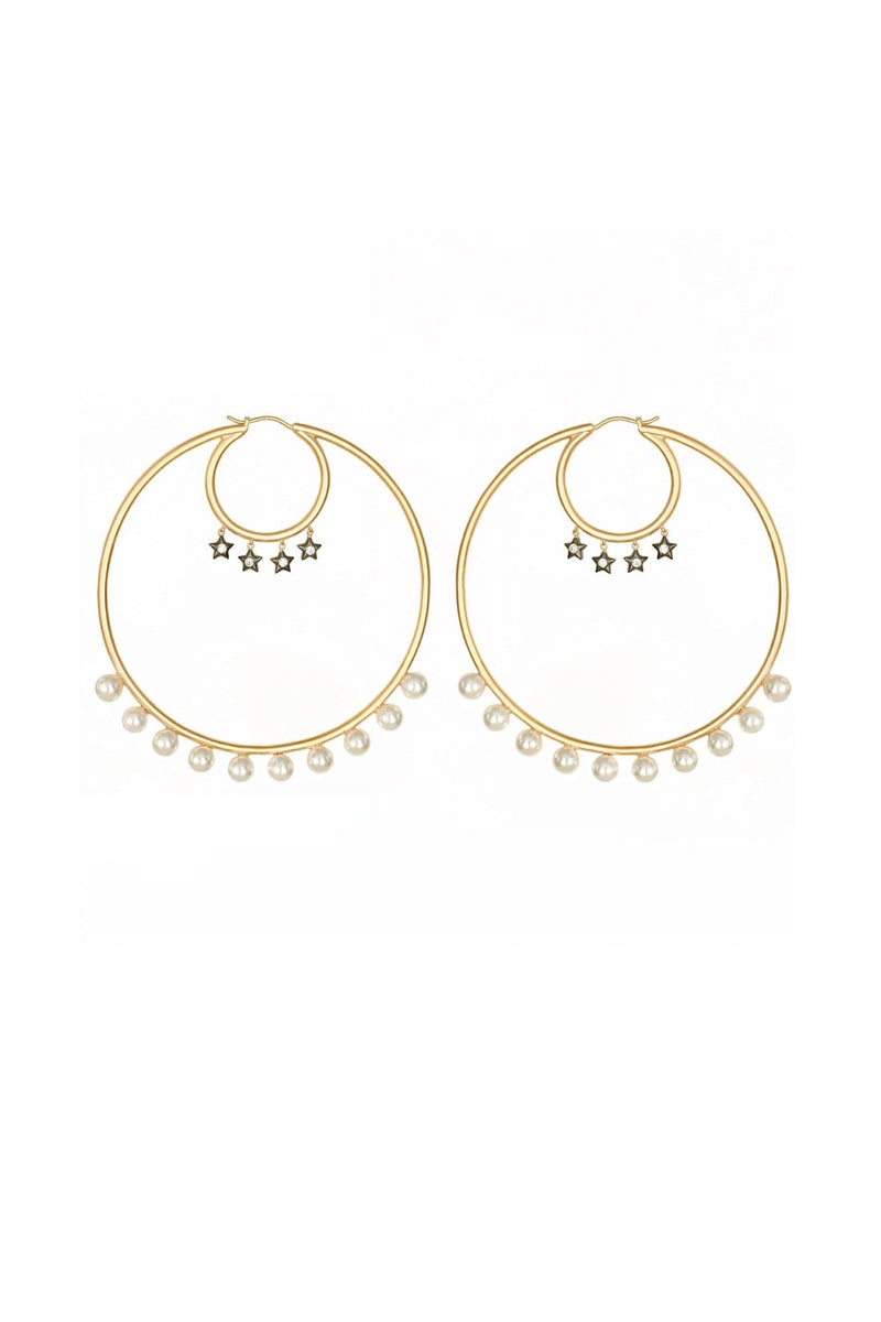 Large Hoops With Freshwater Pearls And Dangling Stars - Maison Orient