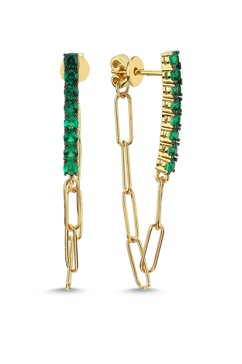 Line Earrings With Chain Single - Maison Orient