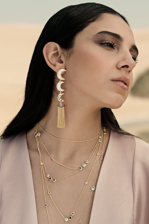 Linear Moons With Evil Eye Drop Earrings In Vermeil Gold - Maison Orient