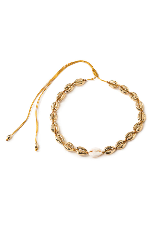 Medium Puka Shell Necklace In Gold With Natural Shell - Maison Orient