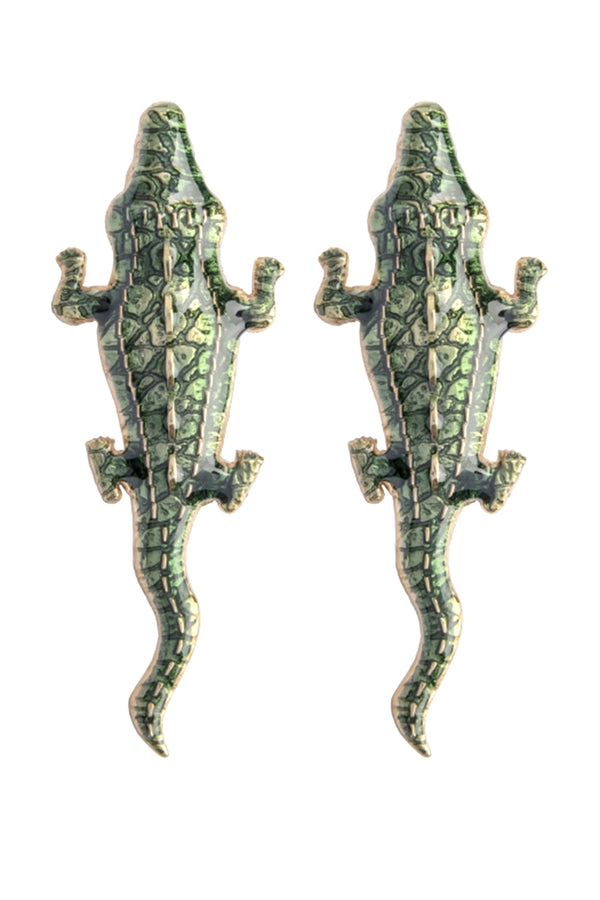 Green Large Crocodile Earrings