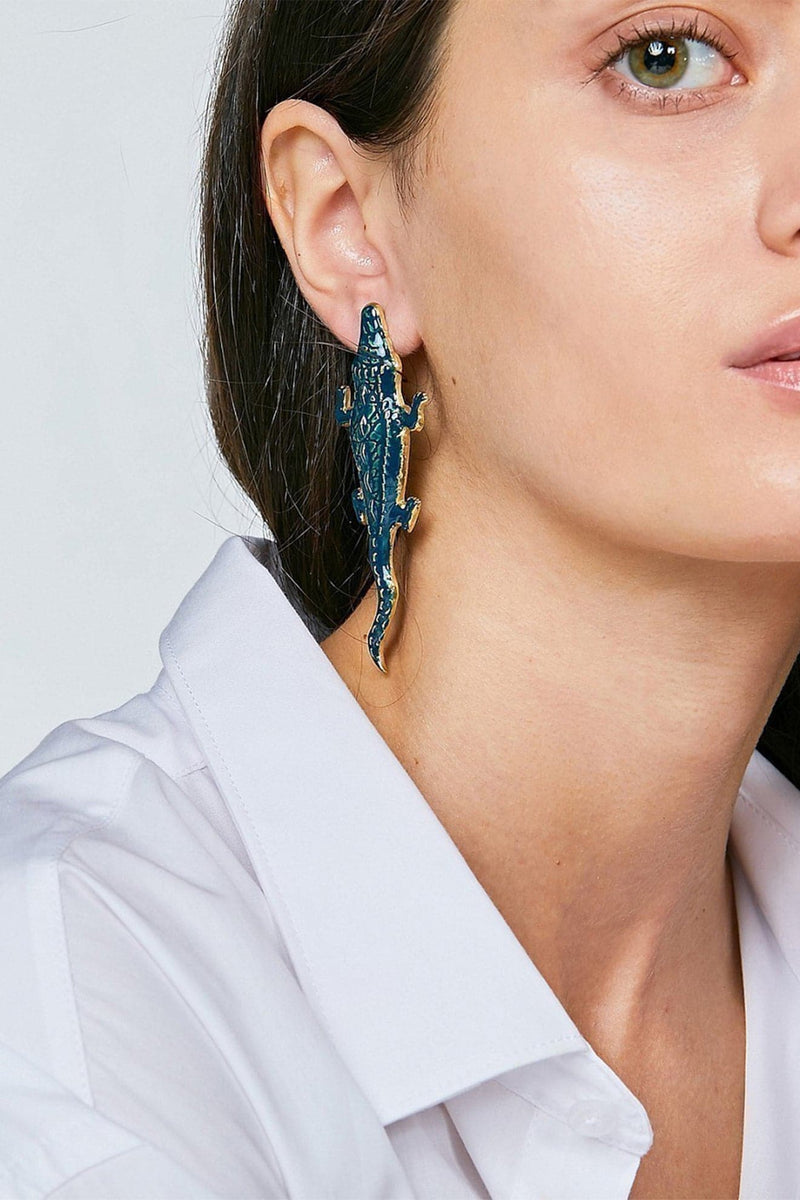 Blue Gold Crocodile Earrings