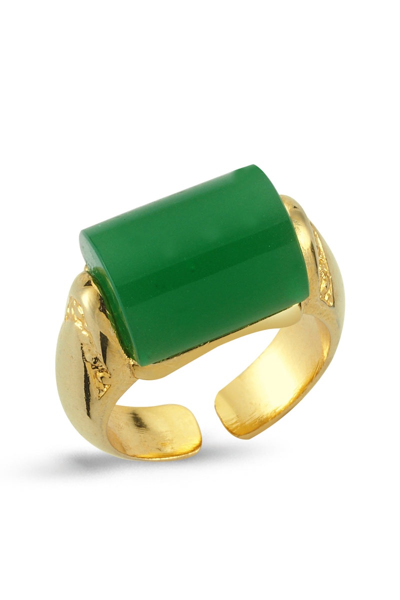 SPECIAL CUT STONE RING - GREEN