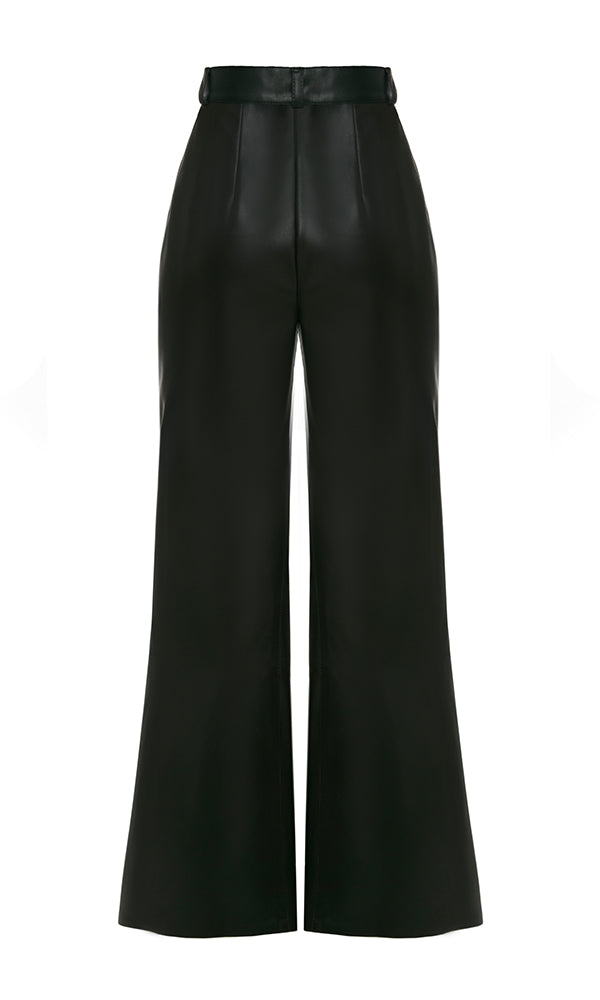 FAUX LEATHER HIGH WAIST FLARE PANTS - Maison Orient