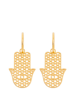 Pair Of Hamsa Earrings Gold - Maison Orient