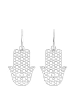 Pair Of Hamsa Earrings Silver - Maison Orient