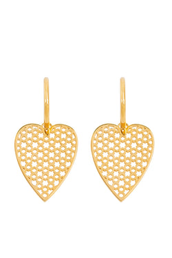 Pair Of Heart Earrings Gold - Maison Orient