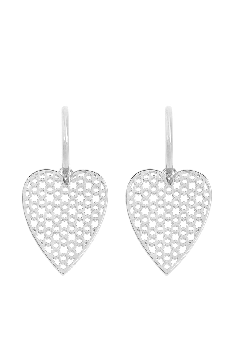 Pair Of Heart Earrings Silver - Maison Orient