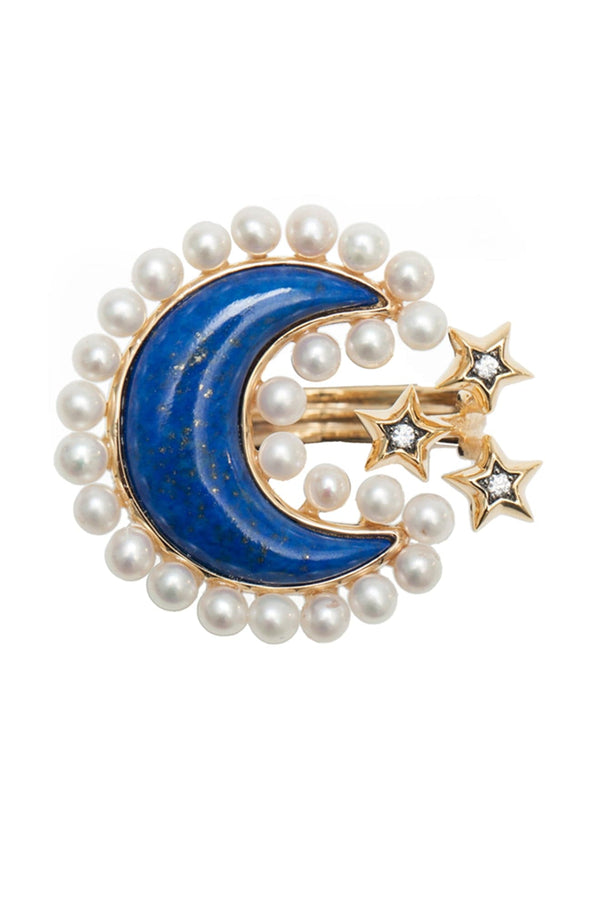 Pearls And Lapis Lazuli Moon Ring In Vermeil Gold - Maison Orient