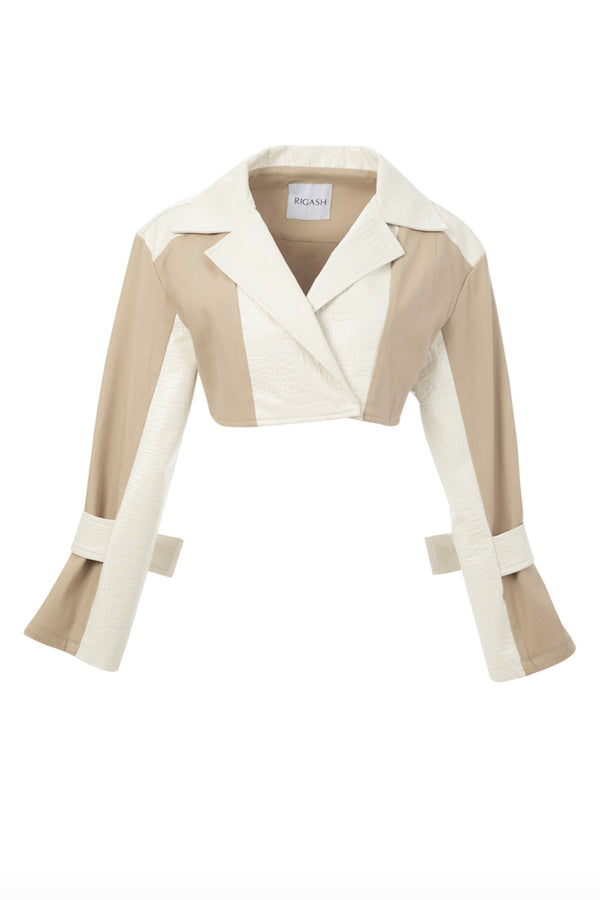 Pearl White Croc /Nude Jacket