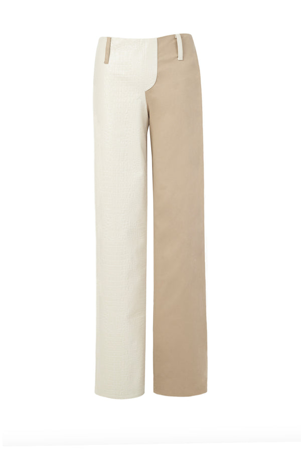 Pearl White Croc /Nude Pants