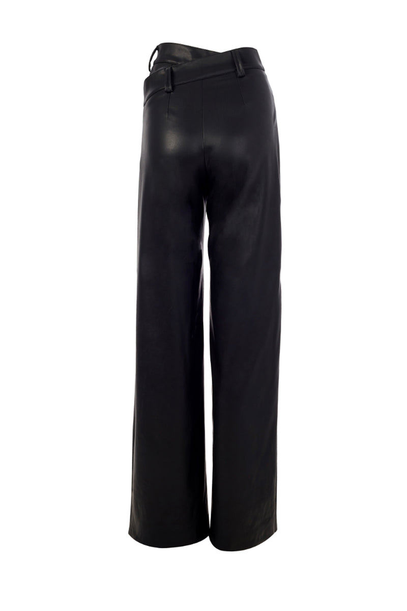 Double Waistband Leather Pants