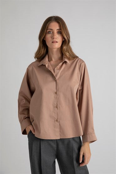Camel  Shirt with Batwing Sleeves