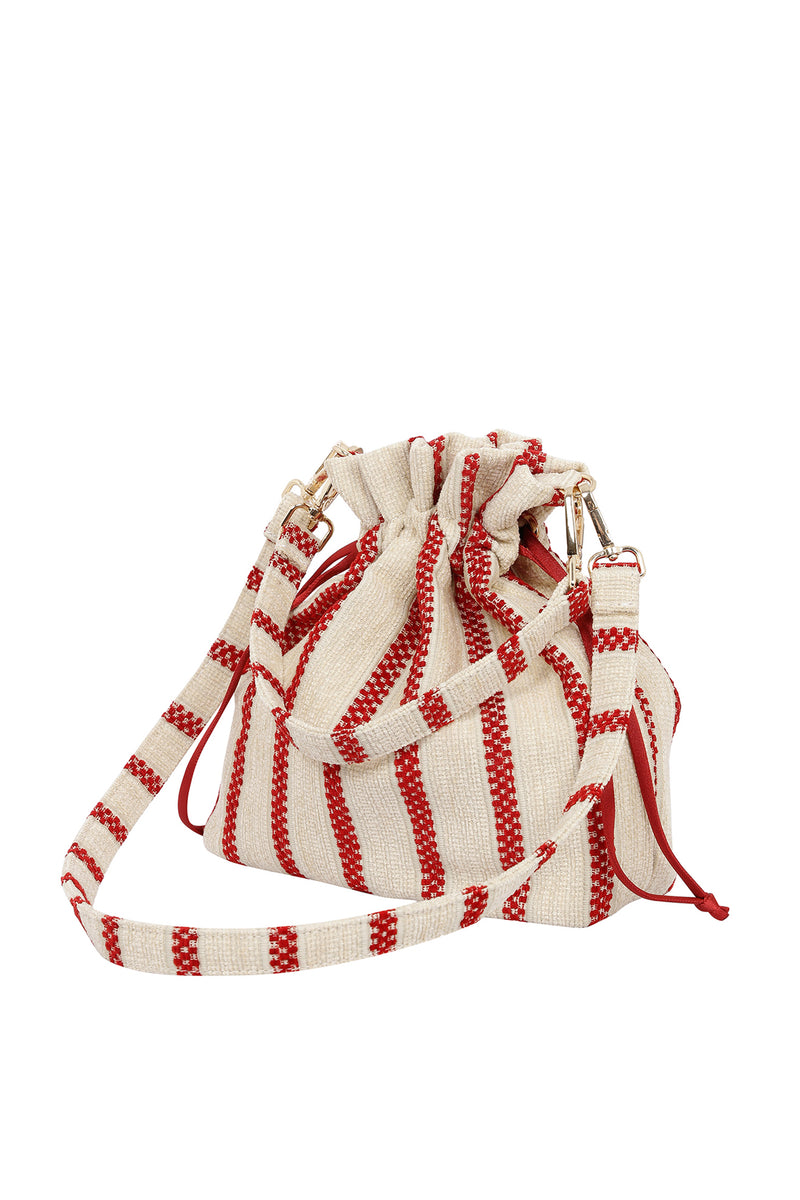 STRIPED POTLI HANDBAG