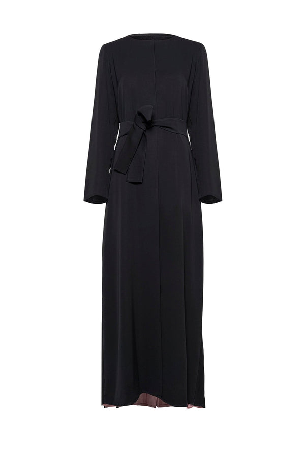 BELTED ABAYA WITH CONTRAST SLITS