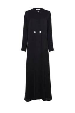 MINIMAL COAT ABAYA WITH ASYMMETRIAL BUTTONS