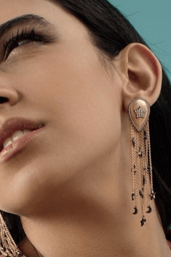 Sa Mma Long Tassels Charms Earrings And Pave Star Vermeil Gold - Maison Orient