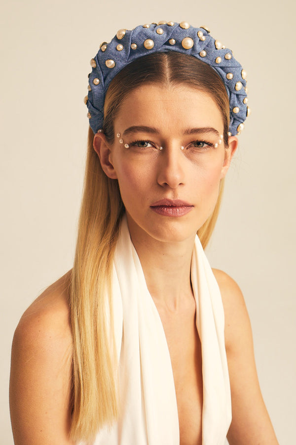 Studded Pearl Light Denim Whirl Headband - Maison Orient