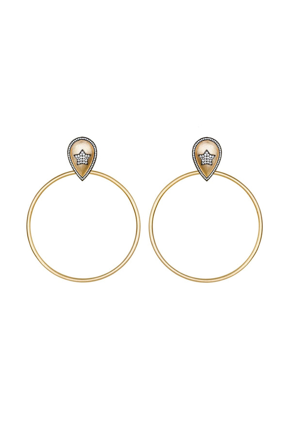 The Dazzling Pave Star Large Hoop Earrings Vermeil Gold - Maison Orient