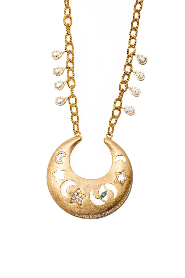 The Heavenly Dome Peandent With Tear Drops Charms Vermeil Necklace - Maison Orient