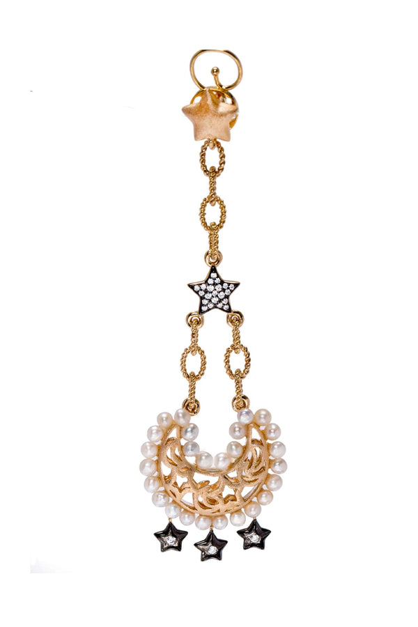 The Moon And Pave Star Drop Statement Earrings With Freshwater Pearls - Maison Orient