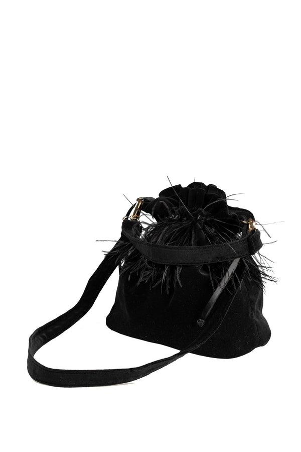 VELVET POTLI WITH BLACK FEATHER HANDBAG