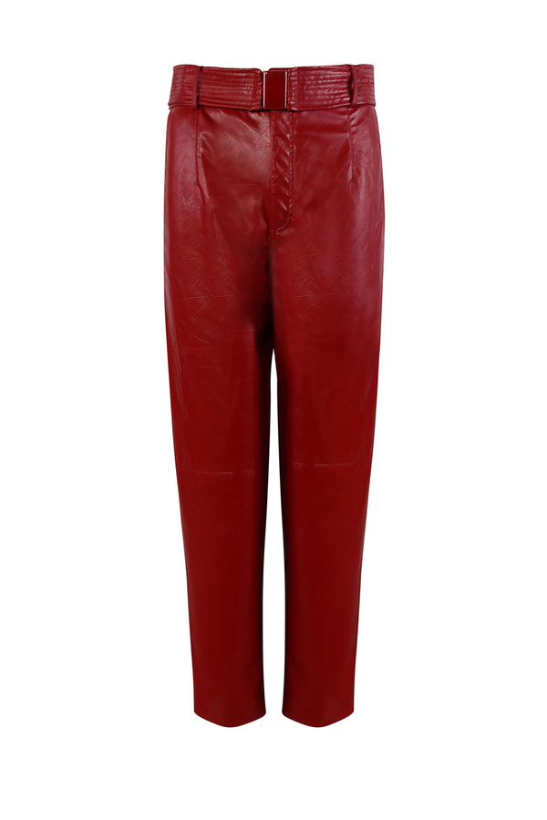 HUILING RED LEATHER TROUSER