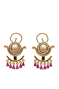 Ammanii Ear Jacket Earrings with Gemstones
