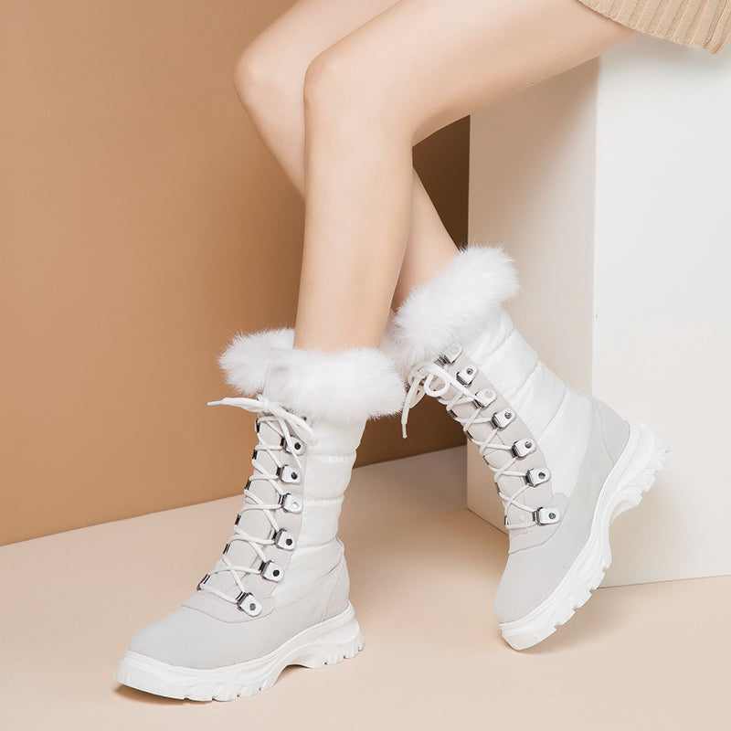 Real leather Women snow Boots