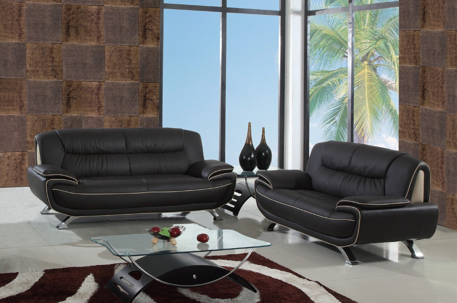 - 67'' X 35''X 35'' Modern Brown Leather Sofa And Loveseat – Hodge