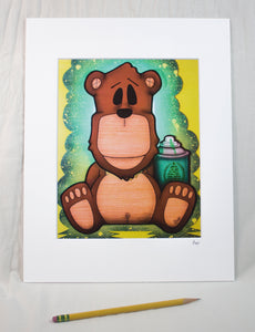 """Bomber the Bear"" Matted Print"
