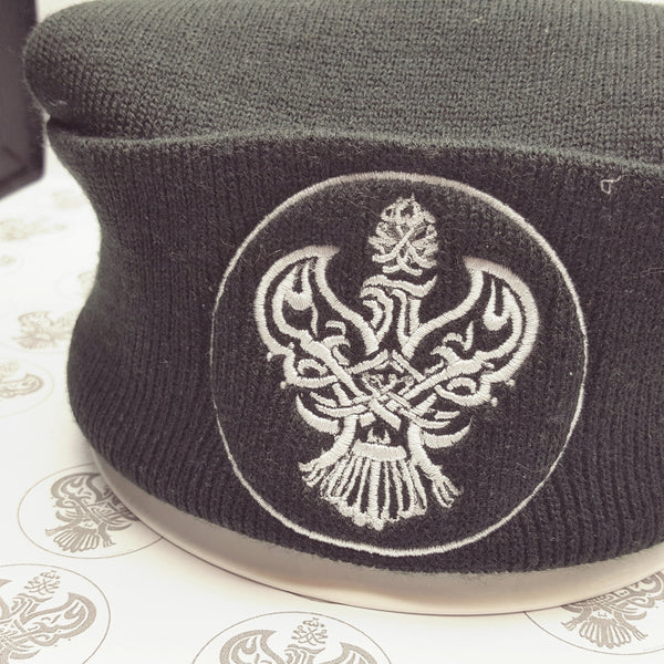 Black Beanie with blessed Phoenix calligraphy.