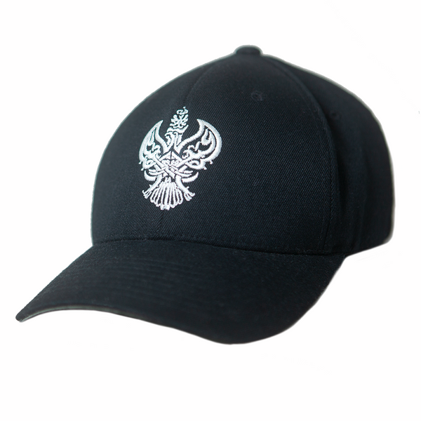 Sufi Meditation Baseball Cap (Black / White) with Blessed Phoenix Calligraphy.
