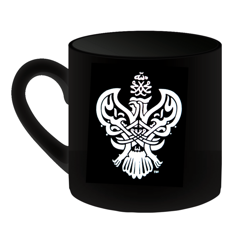 Blessed Sufi Meditation mug with Phoenix design (black).
