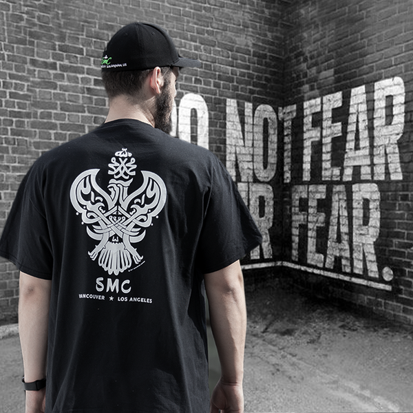 Sufi Meditation T-Shirt (Black / White) with Iconic Phoenix Design.