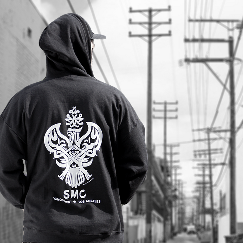 Hooded Pullover, Black Sufi Meditation Center with Iconic Phoenix Design