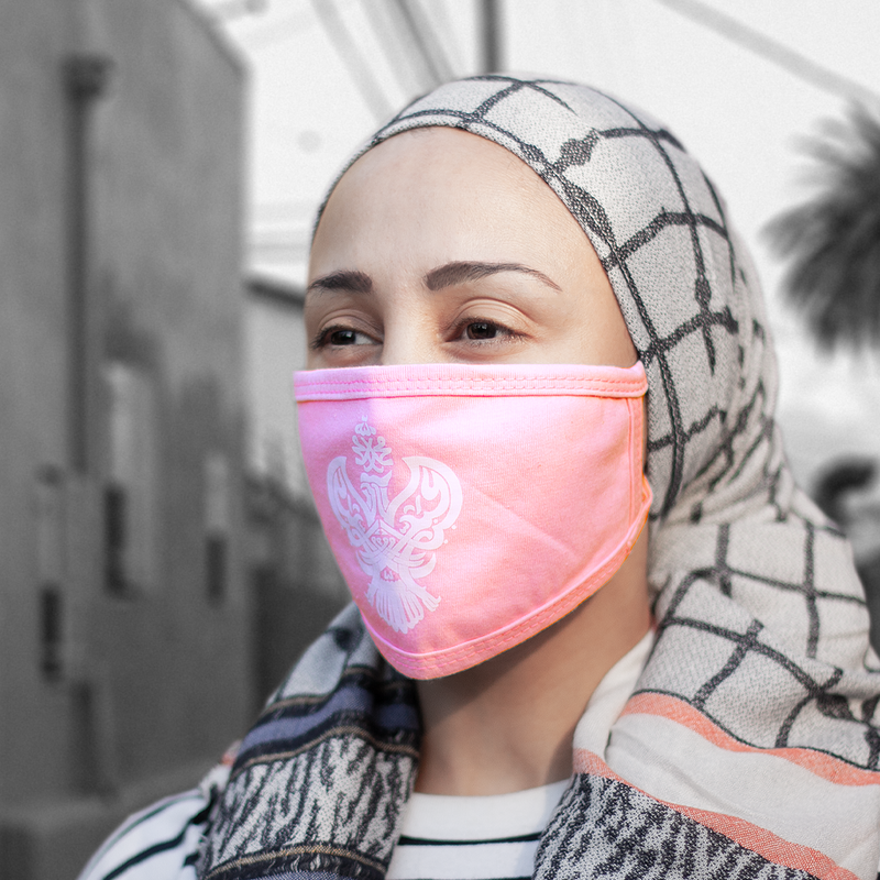 Mask Face Covering with blessed Phoenix (Blue, Black & Pink)