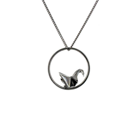 Circle Swan Gold & Silver Necklace