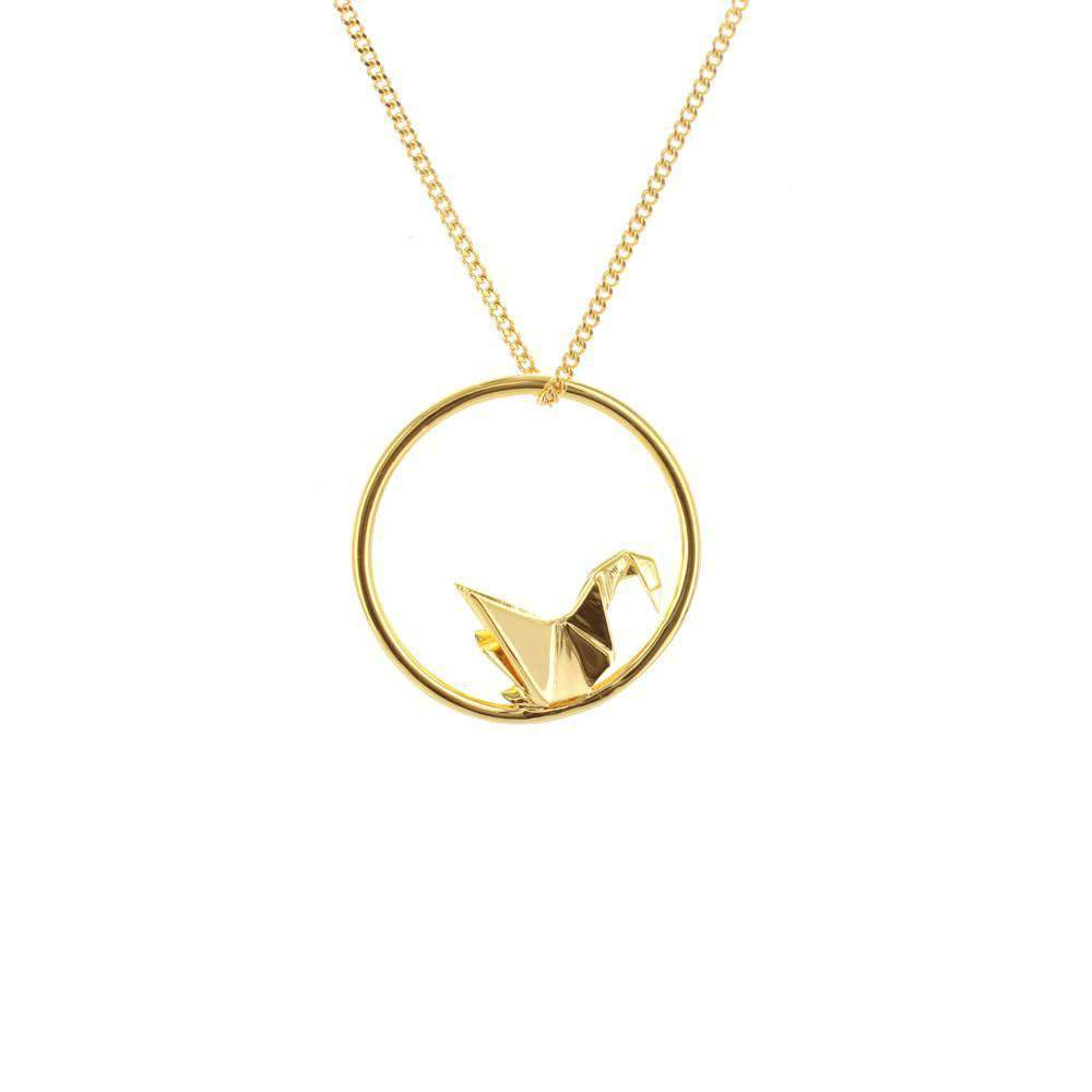 Circle Swan Gold Necklace