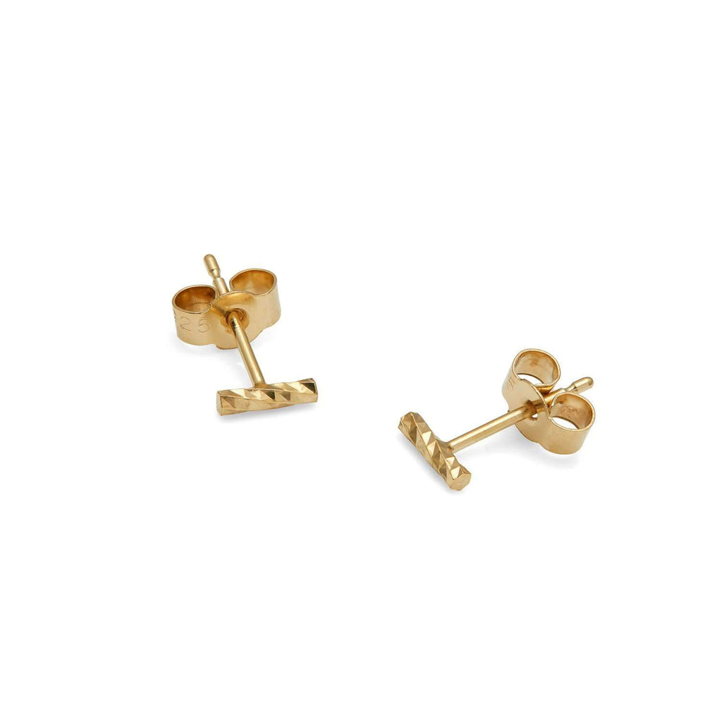 Mini Diamond Bar Stud Earrings
