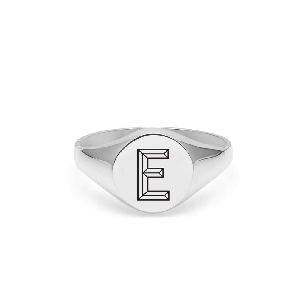 Silver Facett Initial E Round Signet Ring