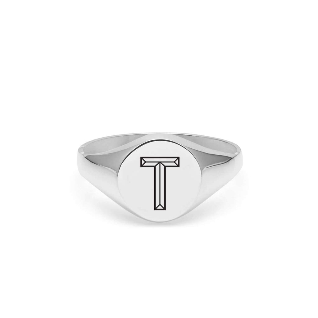 Silver Facett Initial T Round Signet Ring