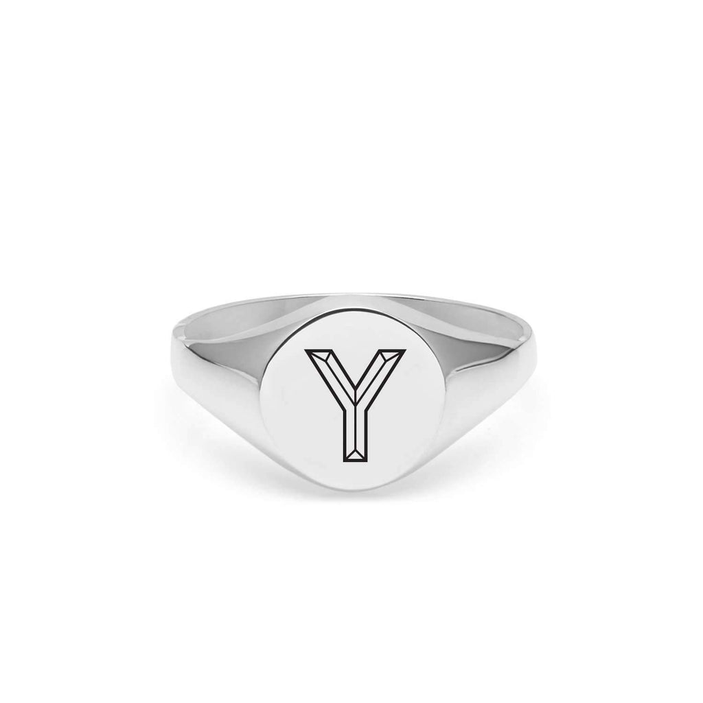 Silver Facett Initial Y Round Signet Ring