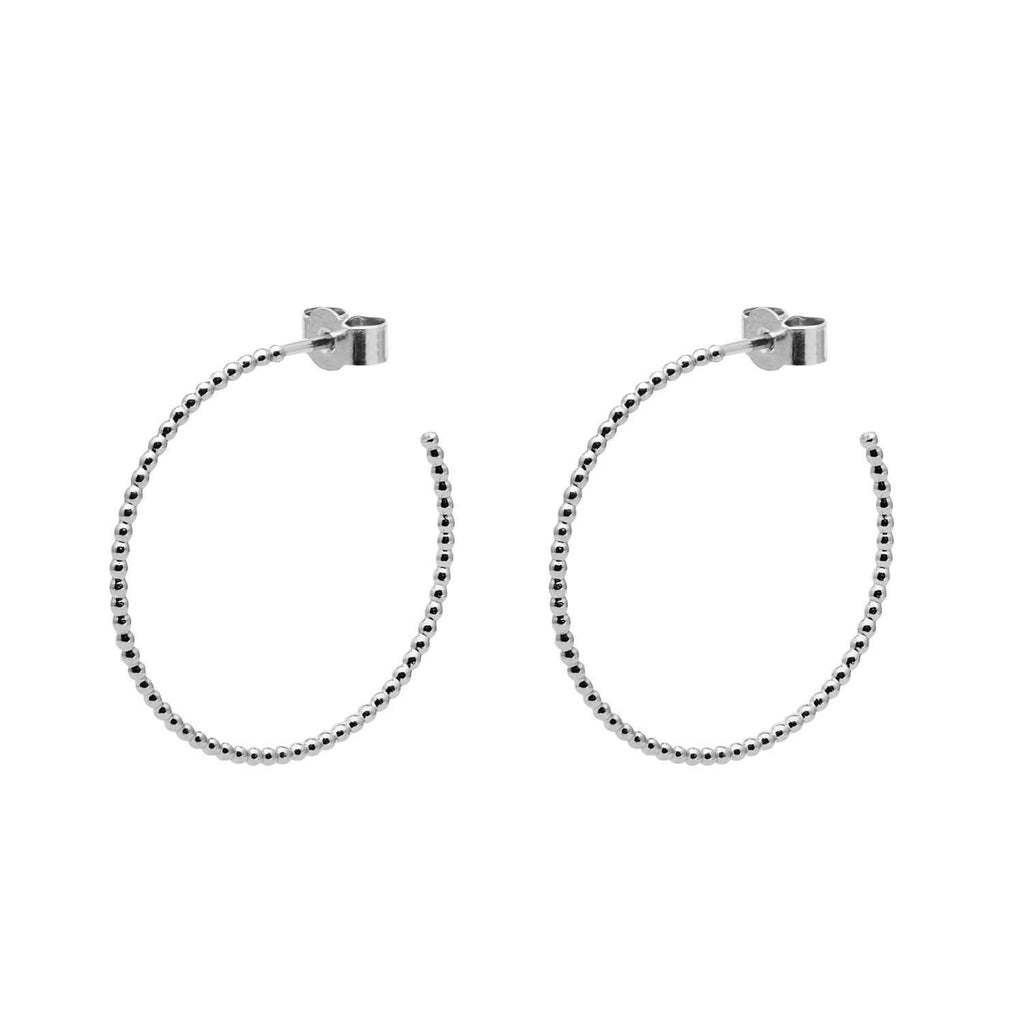 Silver Large Ball Hoop Earrings