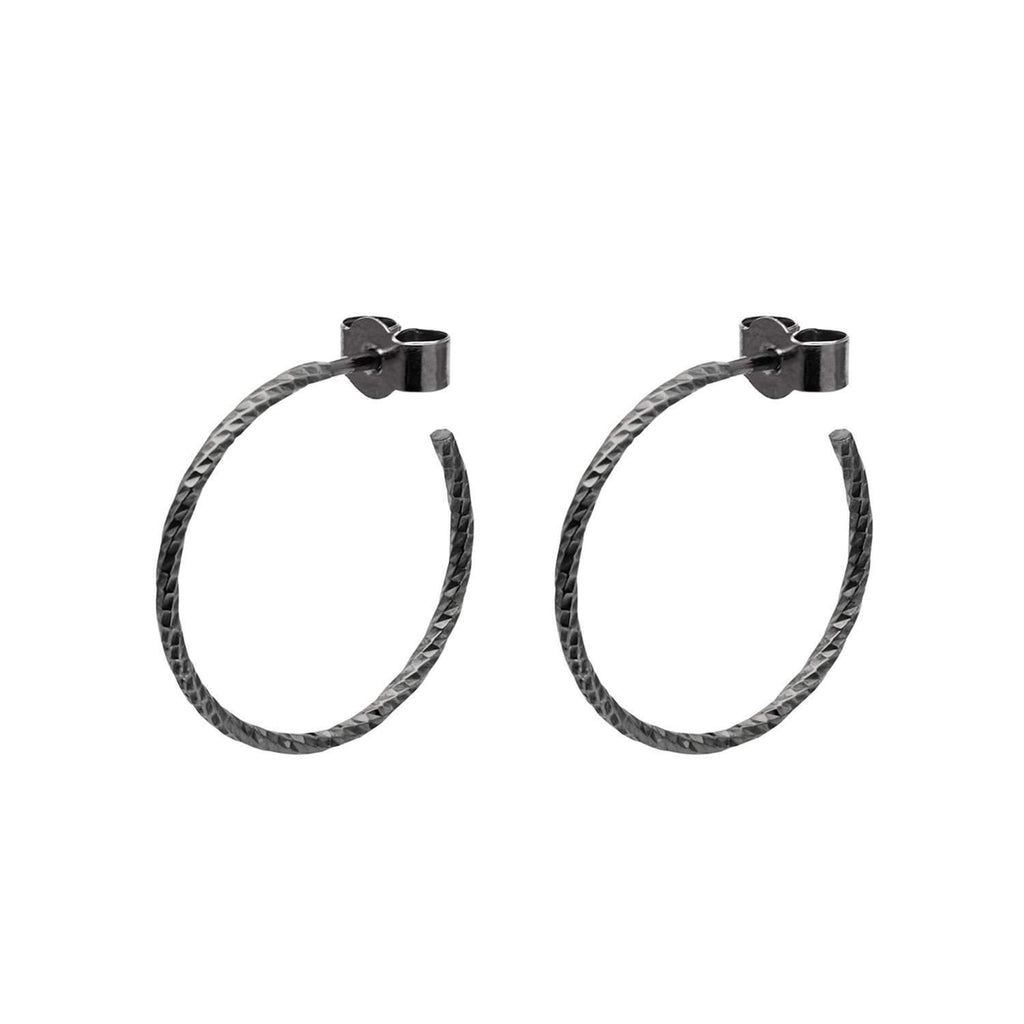 Black Medium Diamond Hoop Earrings